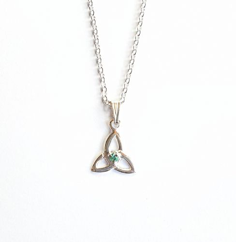 Emerald Trinity Knot Pendant Made In Ireland